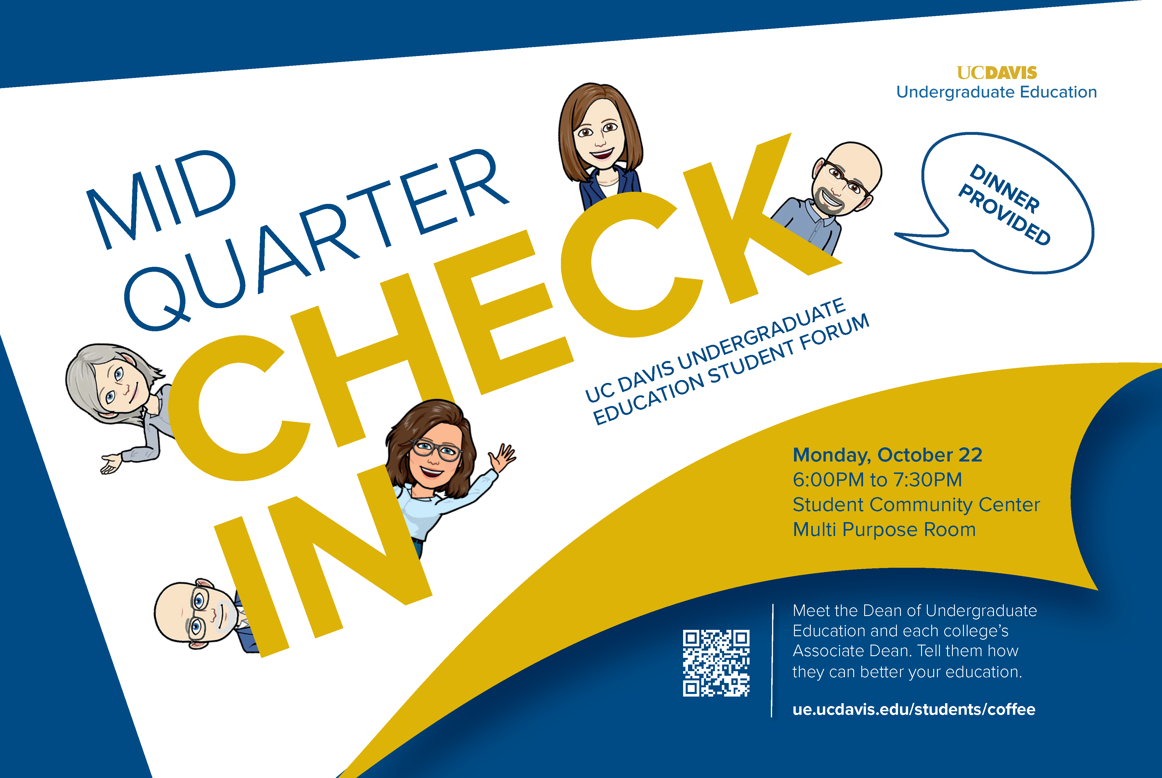 check-in flyer with bitmoji characters of associate deans