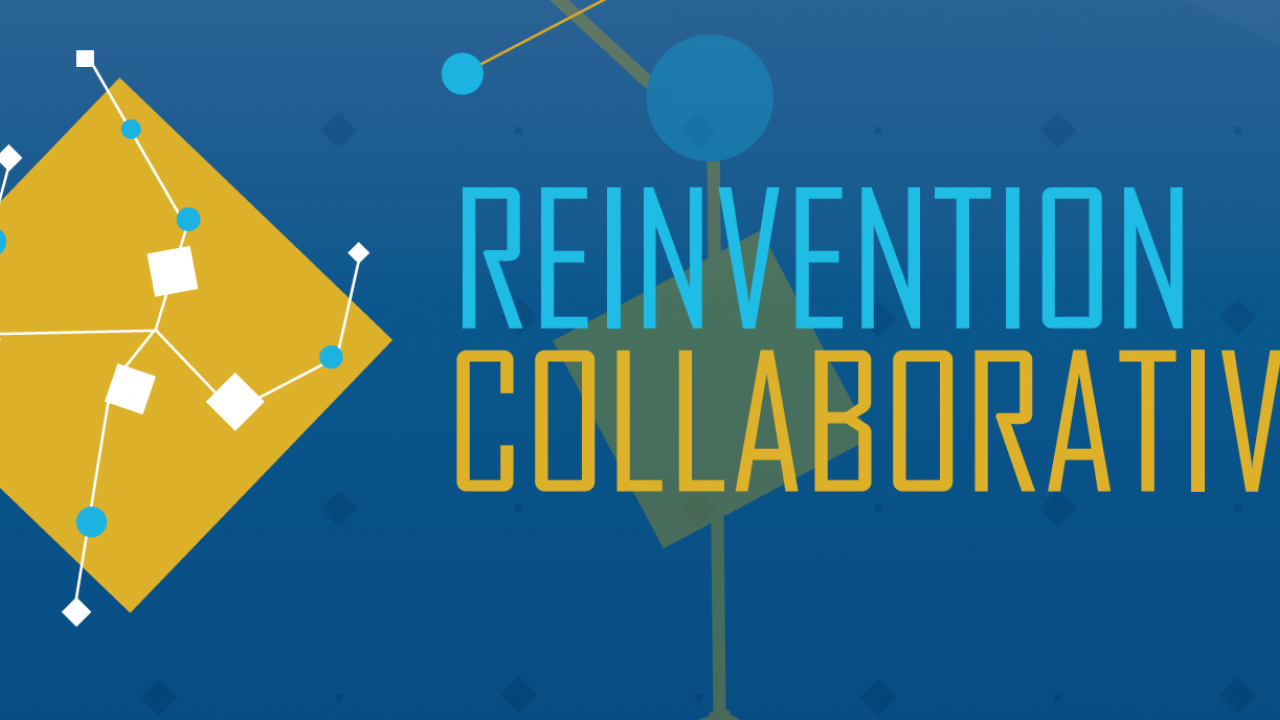 Reinvention Collaborative Logo in Blue and Gold