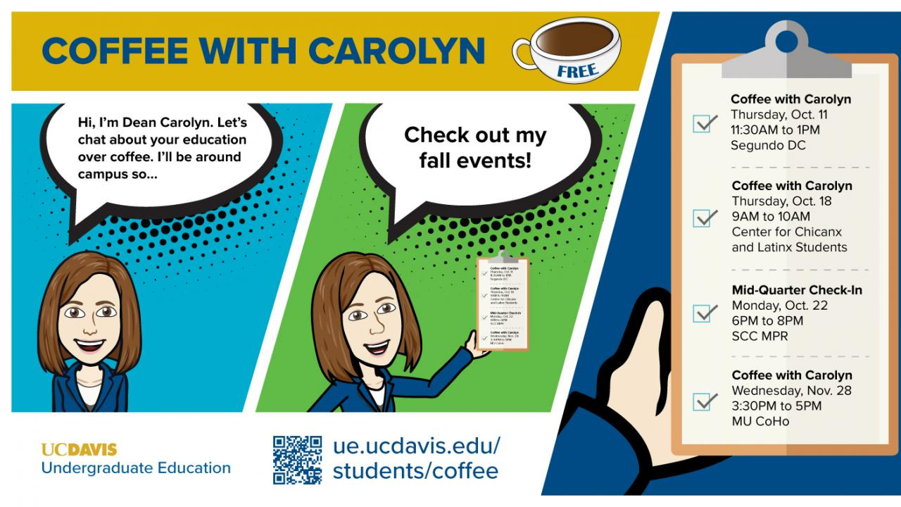 Cartoon of Carolyn Thomas Inviting students to Coffee