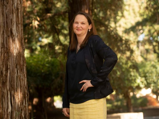 Vice Provost and Dean Cynthia Carter Ching in the Redwood Grove, UC Davis Arboretum