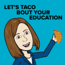Carolyn bitmoji with a taco